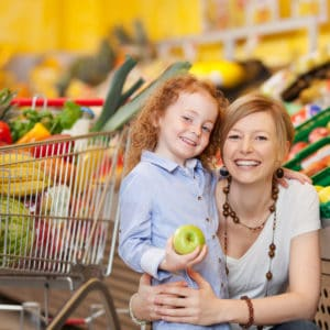 Mom and daughter at grocery store